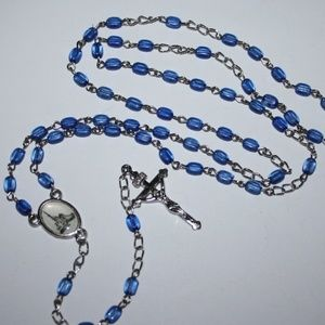 Vintage silver and blue rosary